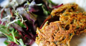 Carrot and sweet potato fritters. Photograph: Aidan Crawley
