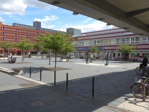 A renovated plaza in Halle-Neustadt. Surveys suggest 90 per cent of the city's residents wouldn't want to live anywhere else. Photograph: Derek Scally/The Irish Times
