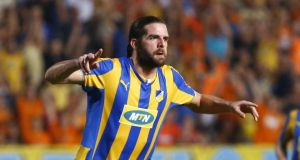 Apoel's  Cillian Sheridan after scoring against  Aalborg BK  in a Champions League play-off game.