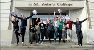 St John's College Ballyfermot students with their Leaving Cert Results: from left, Dean Hogarty, Luke Noonan, Eoin de Lecy, Nathan Doyle, Robert Swaine, Jordan Doyle Mathew Murphy Kalim Teeling and Dean Cullins. Photograph: Brenda Fitzsimons/The Irish Times