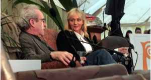 Author John Banville with Miriam O'Callaghan   at Mindfields during Electric Picnic 2011. Photograph: Brenda Fitzsimons / THE IRISH TIMES