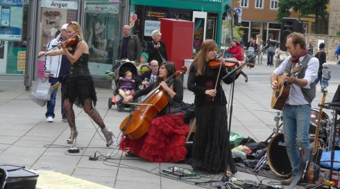A band called The Wishing Well perform on the street in Erfurt. Photograph: Derek Scally/The Irish Times