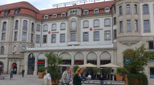 "The hotel Erfurter Hof in Erfurt. When West German chancellor Willy Brandt visited this eastern town in 1970 - the first-ever meeting between West and East German leaders - locals broke through a secret police cordon to storm the plaza, shouting ""Willy Brandt to the window!"" A sign on the roof recalls that memorable day. Photograph: Derek Scally/The Irish Times"