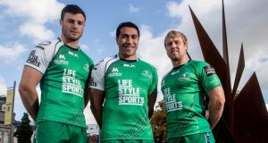 Connacht  players Robbie Henshaw, former All Blacks ace  Mils Muliaina and Fionn Carr model  this season's jersey, sponsored by   Life Style Sports. Photograph: James Crombie/Inpho