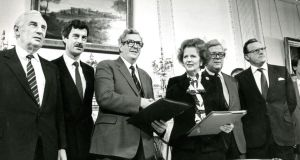 At the signing of the Anglo-Irish Agreement in 1985: Peter Barry, Dick Spring, Garret FitzGerald, Margaret Thatcher, Geoffrey Howe and Tom King