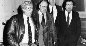 SDLP members Seamus Mallon,  Joe Hendron, Eddie McGrady and  John Hume, the party leader, leaving the Department of Foreign Affairs in Dublin. Photograph: Jack McManus / The Irish Times