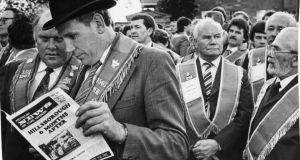 Loyalists taking part in the Orange Order protest rally against the signing of the Anglo-Irish Agreement at Hillsborough Castle, Co Down, in 1986. Photograph: Matt Kavanagh / The Irish Times