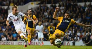 Harry Kane of Spurs scores the first against AEL Limassol in the  Uefa Europa League Qualifying Play-Offs round second leg match at White Hart Lane. Photograph:  Jamie McDonald/Getty Images