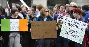 Demonstrators at a pro choice protest in Dublin earlier this month.  Photograph: Aidan Crawley