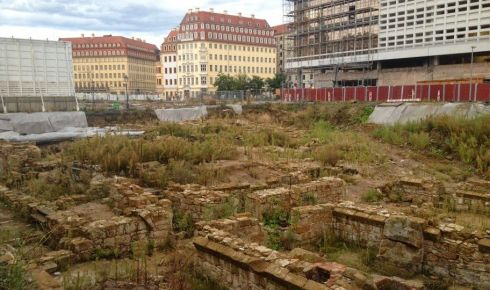 Excavations of the foundations of houses destroyed in the 1945 fireboming of Dresden. Photograph: Derek Scally/The Irish Times