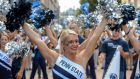 The Penn State University cheerleading team performing on Grafton Street in Dublin ahead of tomorrow's game against the University of Central Florida which has been dubbed the 'Croke Park Classic'. Photograph : Brendan Moran / Sportsfile.