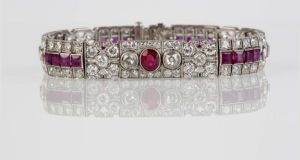 Art Deco lots at O'Reilly's  include a platinum ruby and diamond bracelet (€17,000-€18,000)