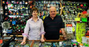 11.45am: Mary and Rory Harkin of Rory's Fishing Tackle, Temple Bar's oldest shop. Photograph: Aidan Crawley