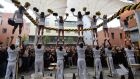 Cheerleaders from University of Central Florida during a pep rally in Dublin's Meeting House Square. Photograph: Alan Betson/The Irish Times