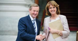 Taoiseach Enda Kenny and Tánaiste Joan Burton: have developed a respectful working relationship. Photograph: Aidan Crawley
