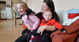 Chelsea Harris and her children Ruby and Louie at their apartment in north Dublin inner city. Photograph: Alan Betson / The Irish Times