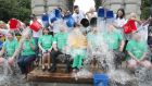 TDs and Senators are dunked by Trinity staff and students in Front Square in aid of motor neurone disease research. Photograph: Stephen Collins/Collins Photos
