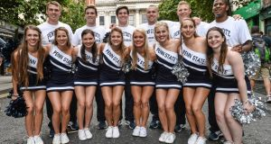 The Penn State Cheerleading Squad pictured before the Croke Park Classic today. Photograph: Ramsey Cardy/Sports file