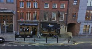 File photograph of Oil Can Harry's pub on Lower Mount Street where two men were injured in a shooting. Photograph: Google Street View