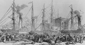 'People aren't so much touched by emigration as manhandled by it.' Above, Irish emigrants leaving for Liverpool during the Famine, in 1851. Original publication: Illustrated London News (Photograph: Hulton Archive/Getty Images)