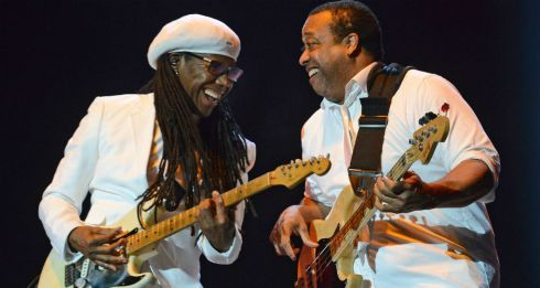 Nile Rodgers of Chic, with bassist Jerry Barnes on the main stage on Saturday night. Photograph: Dave Meehan