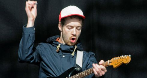 Tvvins on the main stage at Electric Picnic. Pictured is guitarist Conor Adams. Photograph: Dave Meehan