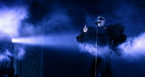 Pet Shop Boys onstage. Photograph: Dave Meehan