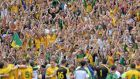 Delighted Donegal fans after the final whistle at Croke Park yesterday. Photograph: Alan Betson