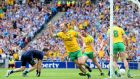 Colm McFadden celebrates scoring Donegal's  third goal in the All-Ireland SFC semi-final at Croke Park. Photograph: Cathal Noonan/Inpho