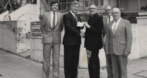 AIB donate a cheque to the centre's refurbishment in the 1970s