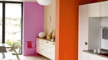 Brave and bold: Vibrant Dulux shades on the back wall is in Dulux Pink 21RR 35/354 and the mid wall section is in Dulux Orange 70YR 30/651