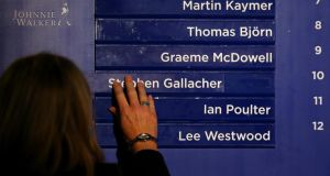 The names of Ian Poulter of England, Stephen Gallacher of Scotland and Lee Westwood of England are positioned in the final line-up of the European team as European Ryder Cup captain Paul McGinley of Ireland announces his three captain's picks during a press conference at Wentworth. Photograph:  Richard Heathcote/Getty Images