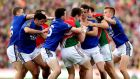 Tempers flare during the All-Ireland football semi-final between Kerry and Mayo at Gaelic Grounds, Limerick. Photograph: James Crosbie/Inpho.