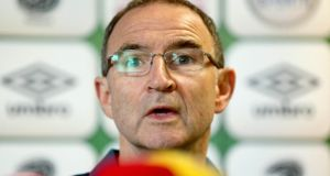 Republic of Ireland manager Martin O'Neill at yesterday's press conference in Malahide. Photograph: Donall Farmer/Inpho