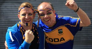 Micheal Cody (left) and Jamie Dunleavy, both from Carrick-on-Suir, at the hurling semi-final between Cork and Tipperary at Croke Park. Photograph: Gareth Chaney Collins