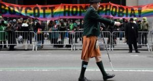 Gay Rights supporters protest against the exclusion of the gay community during the 252nd annual Saint Patrick's Day Parade in New York, March 2014. Photograph: Andrew Gombert/EPA
