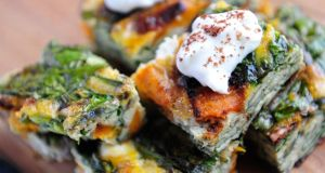 Monday: Sweet potato, spinach and feta frittata