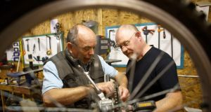 Dominic Kessie and Ray Harte at the Men's Shed in Portlaoise.Picture: Jeff Harvey/HR Photo
