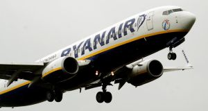Ryanair closed 1.57 per cent up at €7.394, after breaking the €7.40 mark earlier in the day. The airline released figures showing August passenger numbers were up 4 per cent at 9.4 million. Photograph: Rui Vieira/PA Wire