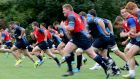 The Leinster players are put through their paces during training earlier this week.
