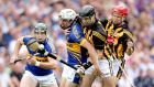 Tipperary's Patrick 'Bonner' Maher battles with JJ Delaney and Tommy Walsh of Kilkenny in the 2012 All-Ireland SHC semi-final. Photograph: James Crombie/Inpho