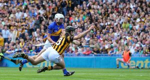 Patrick Maher scores  Tipperary's goal during  the  All-Ireland SHC Final at Croke Park. Photograph: Cathal Noonan/Inpho
