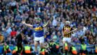 John O'Dwyer gestures to the referee for calling the Hawk-Eye into play after a late free for Tipperary during yesterday's All-Ireland final at Croke Park. Photograph: Inpho
