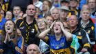 Kilkenny and Tipperary fans on edge at Croke Park yesterday. Photograph: Alan Betson