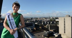 Rose of Tralee Maria Walsh in The Irish Times office for podcast and interview. Photograph: Dara Mac Dónaill/The Irish Times