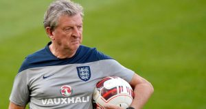 England manager Roy Hodgson leads a training session at the St Jakob-Park stadium in Basel, Switzerland, yesterday. Photograph: Walter Bieri/EPA
