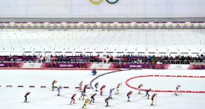 The Biathlon Men's Relay at the Laura Cross-country Ski & Biathlon Center on February 22, 2014 in Sochi, Russia. Photograph:  Vianney Thibaut/Agence Zoom/Getty Images
