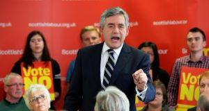 "'Would one among them urge English cities, towns and villages to drape themselves in the Ulster Banner, aka St Patrick's Saltire, to send the message – ""Stay""?' Former Prime Minister Gordon Brown delivers a speech at Scottish Labour campaign headquarters in Glasgow. Photograph: Mark Runnacles/Getty Images"