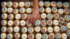 Edinburgh bakery Cuckoos which launched their own Scottish referendum opinion poll survey with cupcakes. Photograph: Andrew Milligan/PA Wire