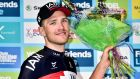 Matthias Brandle of IAM cycling won stage five of the Tour of Britain.  Photograph: Ben Birchall/PA Wire